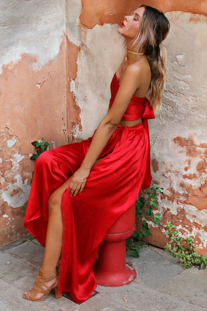 SATIN SILK ROUGE - WRAP TWO PIECE GOWN