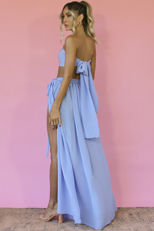 VIENNA SKY SILK - WRAP TWO PIECE GOWN