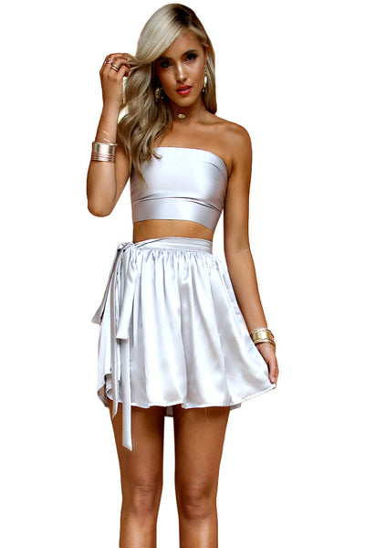 SATIN SILK SILVER - WRAP TWO PIECE MINI