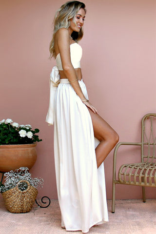 SATIN SILK PEARL - WRAP TWO PIECE GOWN