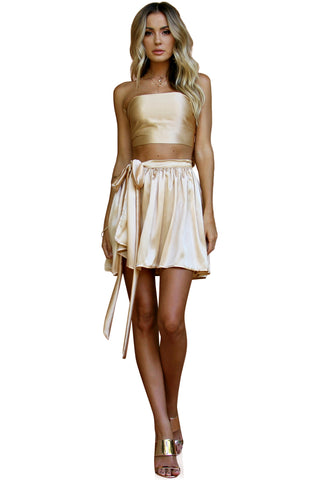 SATIN SILK CHAMPAGNE - WRAP TWO PIECE MINI