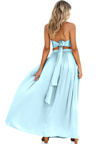 SUEDED SILK ICE - WRAP TWO PIECE GOWN