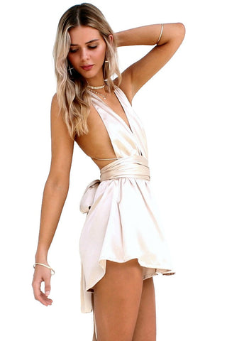SATIN SILK OYSTER - MULTIWAY PLAYSUIT