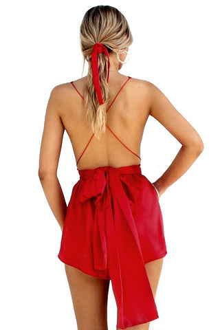 SATIN SILK ROUGE - MULTIWAY PLAYSUIT