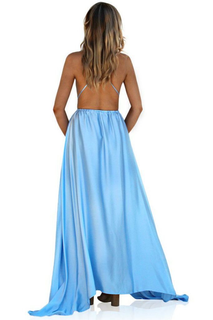 SATIN SILK FROSTED BLUE - DOUBLE STRAP GOWN