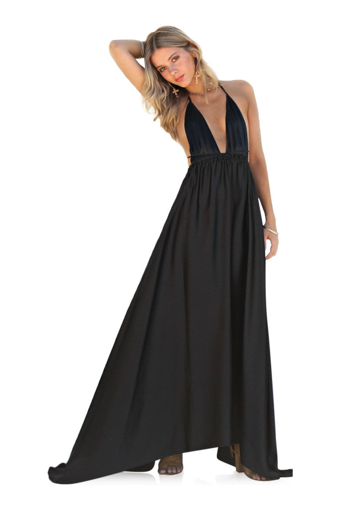 SATIN SILK NOIR - DOUBLE STRAP GOWN