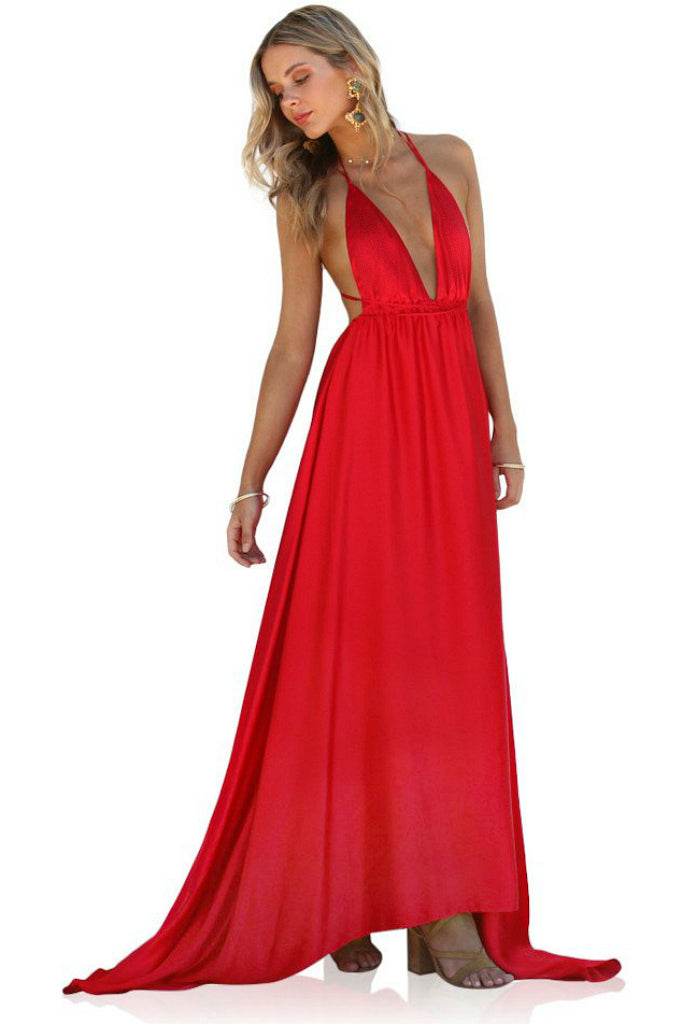 SATIN SILK ROUGE - DOUBLE STRAP GOWN