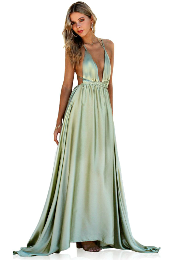 SATIN SILK SAGE - DOUBLE STRAP GOWN