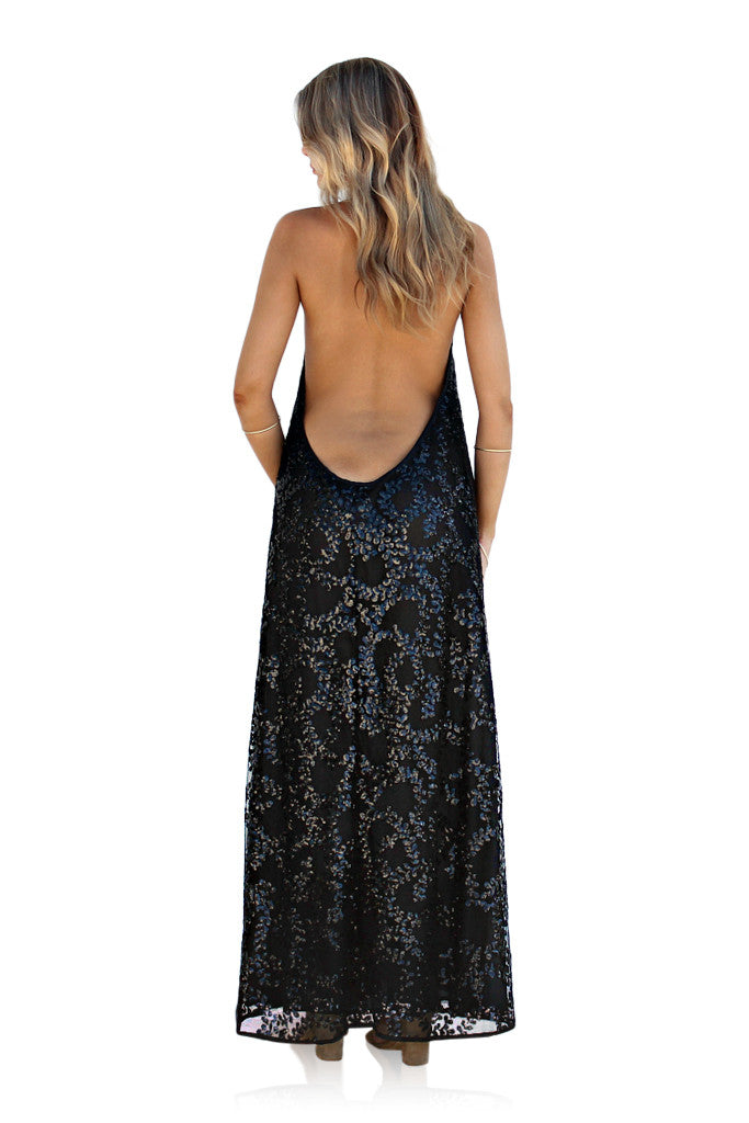 EMBELLISHED SILK SECRET GARDEN NOIR - BACKLESS HALTER GOWN