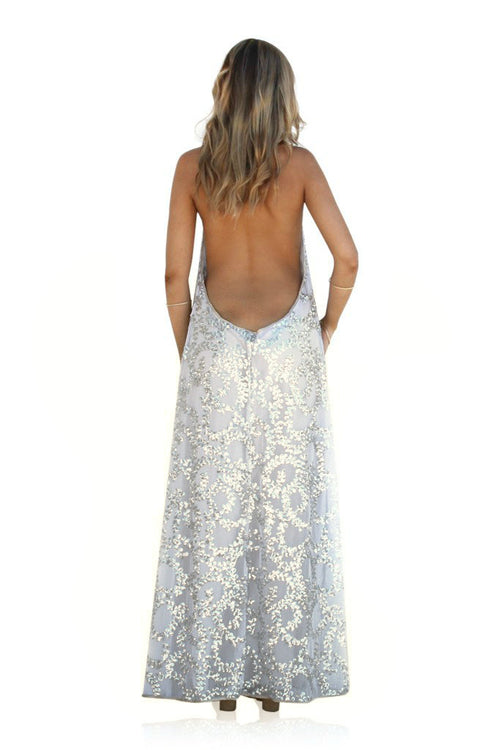 EMBELLISHED SILK SECRET GARDEN SILVER - BACKLESS HALTER GOWN