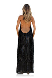 EMBELLISHED & VELVET SILK WAVES NOIR - BACKLESS HALTER GOWN