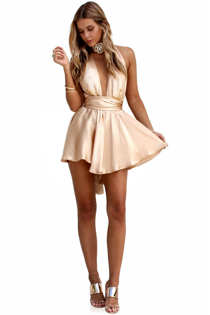 SATIN SILK CHAMPAGNE - TEASER MINI DRESS