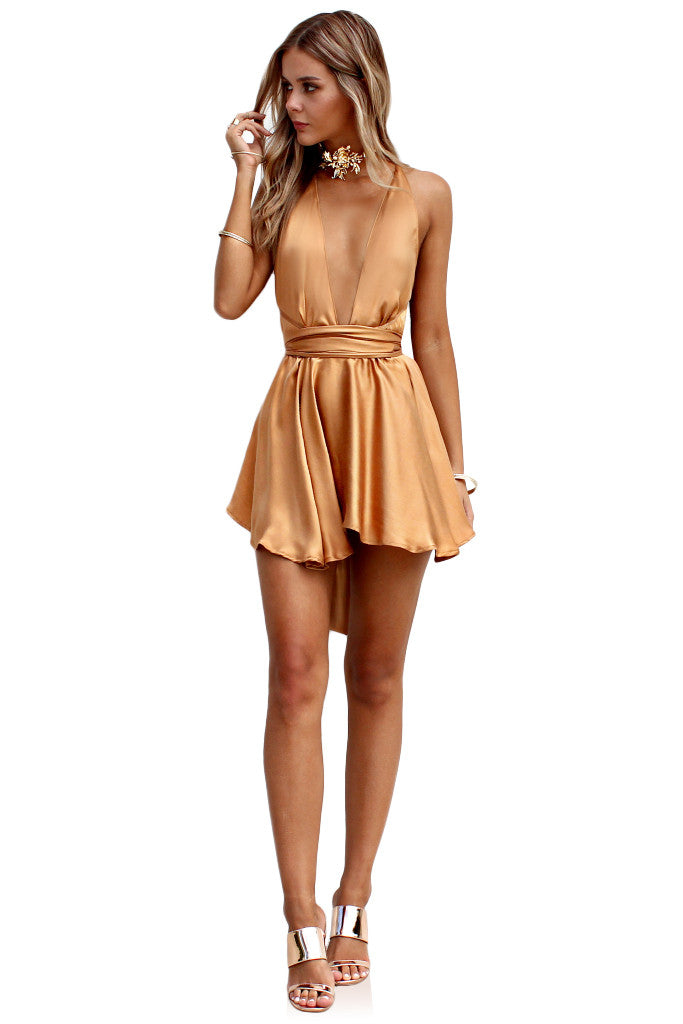 SUEDED SILK FOX - TEASER MINI DRESS