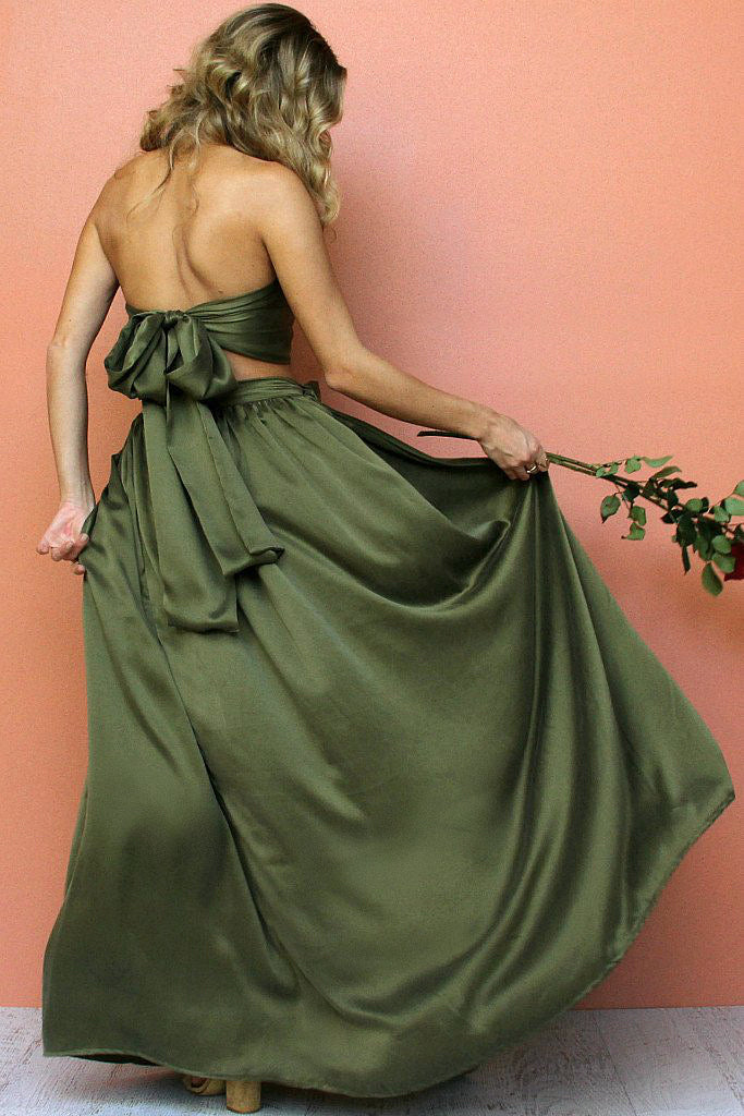 SUEDED SILK FOREST - WRAP TWO PIECE GOWN