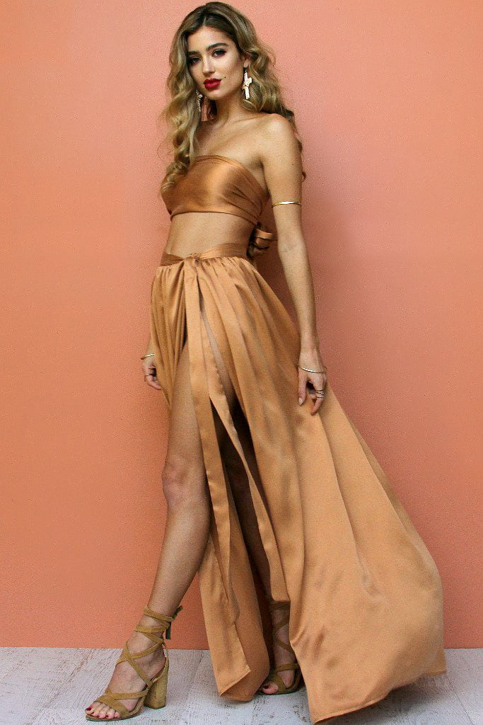 SUEDED SILK FOX - WRAP TWO PIECE GOWN