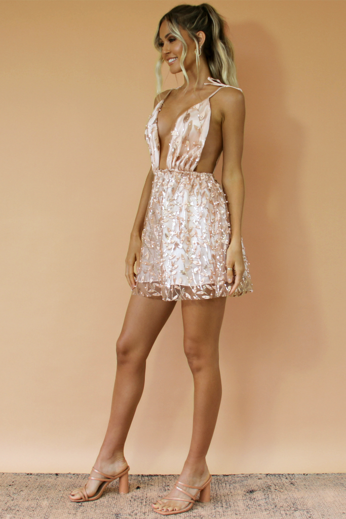VERA MINI DRESS - PINK SILK & EMBELLISHED FLORA