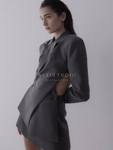 Female model wears outfit from No.2 collection by Klei Studio