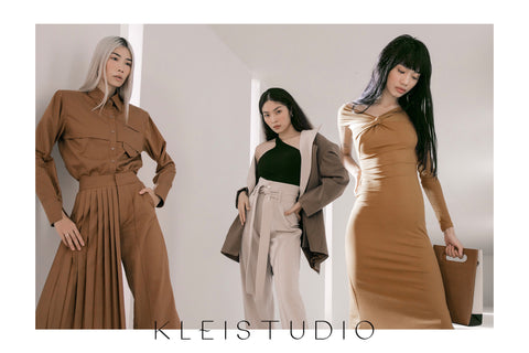 Models wearing beige looks from Klei Studio's first collection for women