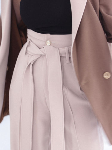 High-waisted trousers in beige for women by Klei Studio