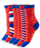 6 PACK BAMBOO SOCKS RED