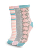 3 PACK COLORFUL COTTON SOCKS PINK