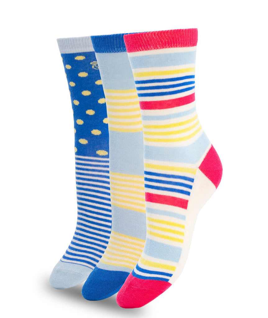 3 PACK COLORFUL COTTON SOCKS BLUE YELLOW