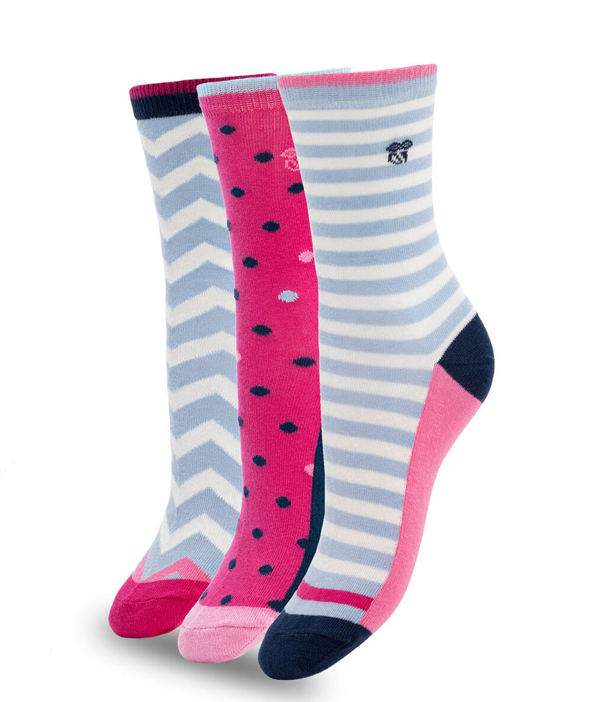 3 PACK COLORFUL COTTON SOCKS PINK BLUE