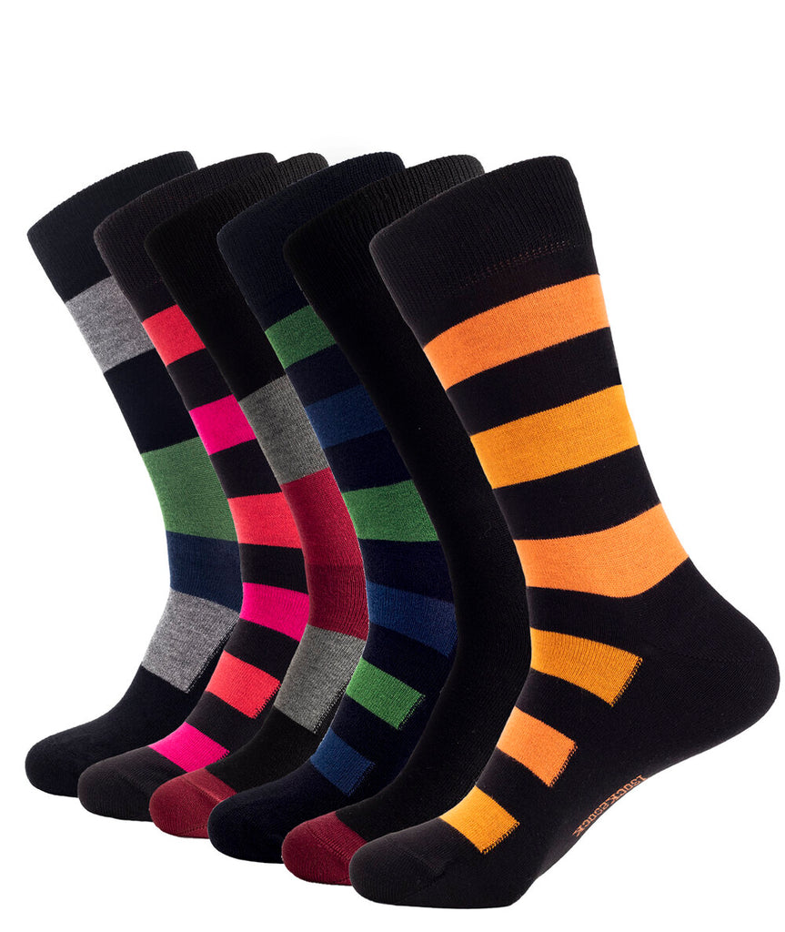 6 PACK BAMBOO SOCKS STRIPES BLACK