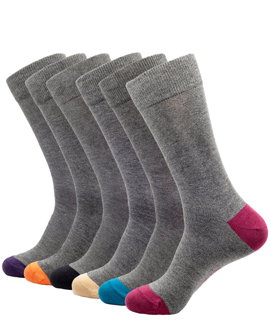 6 PACK BAMBOO SOCKS SOLID GREY