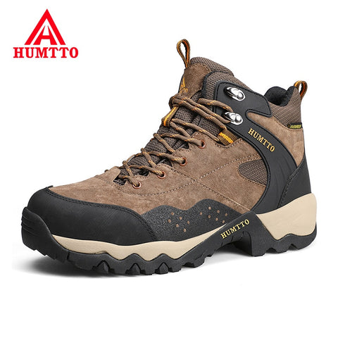 Brand Winter New High-top Trekking Shoes Men Genuine Leather Sport Mens Hiking Shoes Non-slip Light Outdoor Climbing Shoes