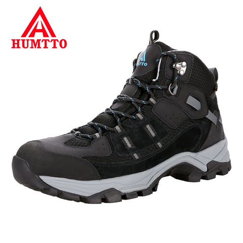 HUMTTO Brand Outdoor Hiking Shoes Professional Genuine Leather Trekking Mountain Sneakers Waterproof Camping Men Shoes Big Size