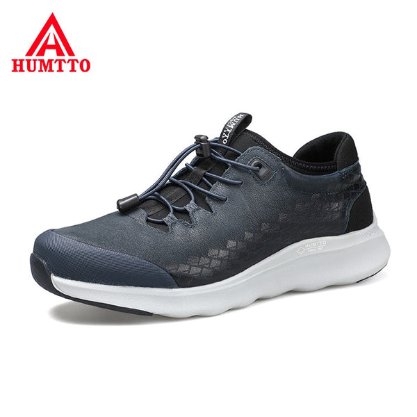 Soft Genuine Leather Trekking Shoes for Male Wear Resistant Elastic Band Outdoor Sneakers Non-slip Light Hiking Shoes Men