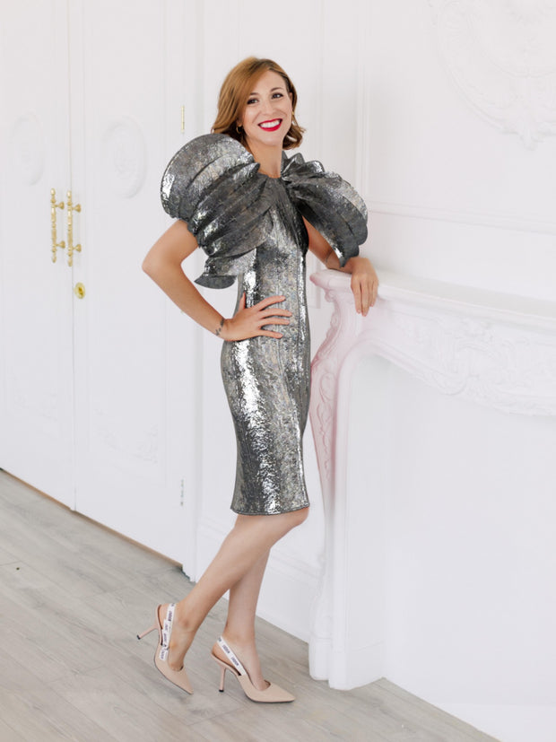 Metallic Faux leather Dress - XR Couture