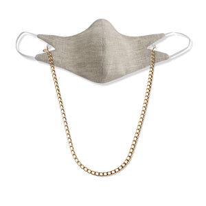 The Tina Mask in Oat With 7mm Gold Chain