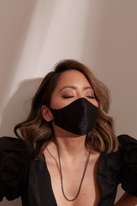 The Tina Mask in Black Silk With 4mm Gunmetal Chain