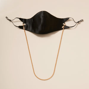 The Tina Mask in Black Silk With 4mm 18kt Gold Chain