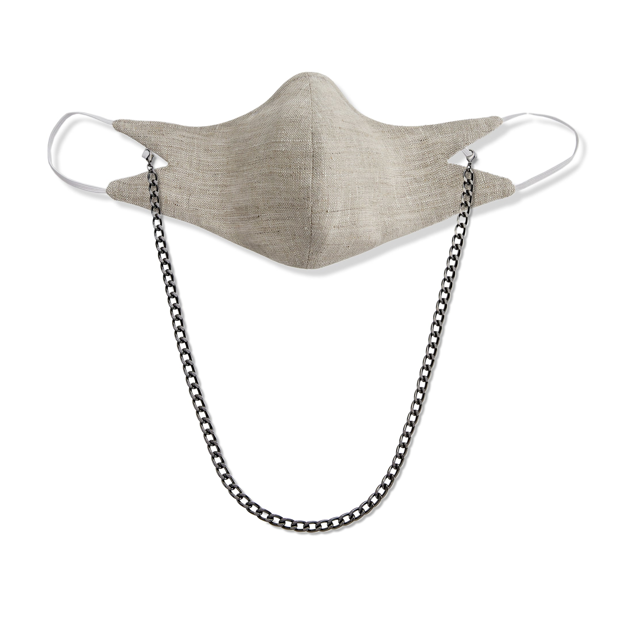 The Tina Mask in Oat With 7mm Gunmetal Chain