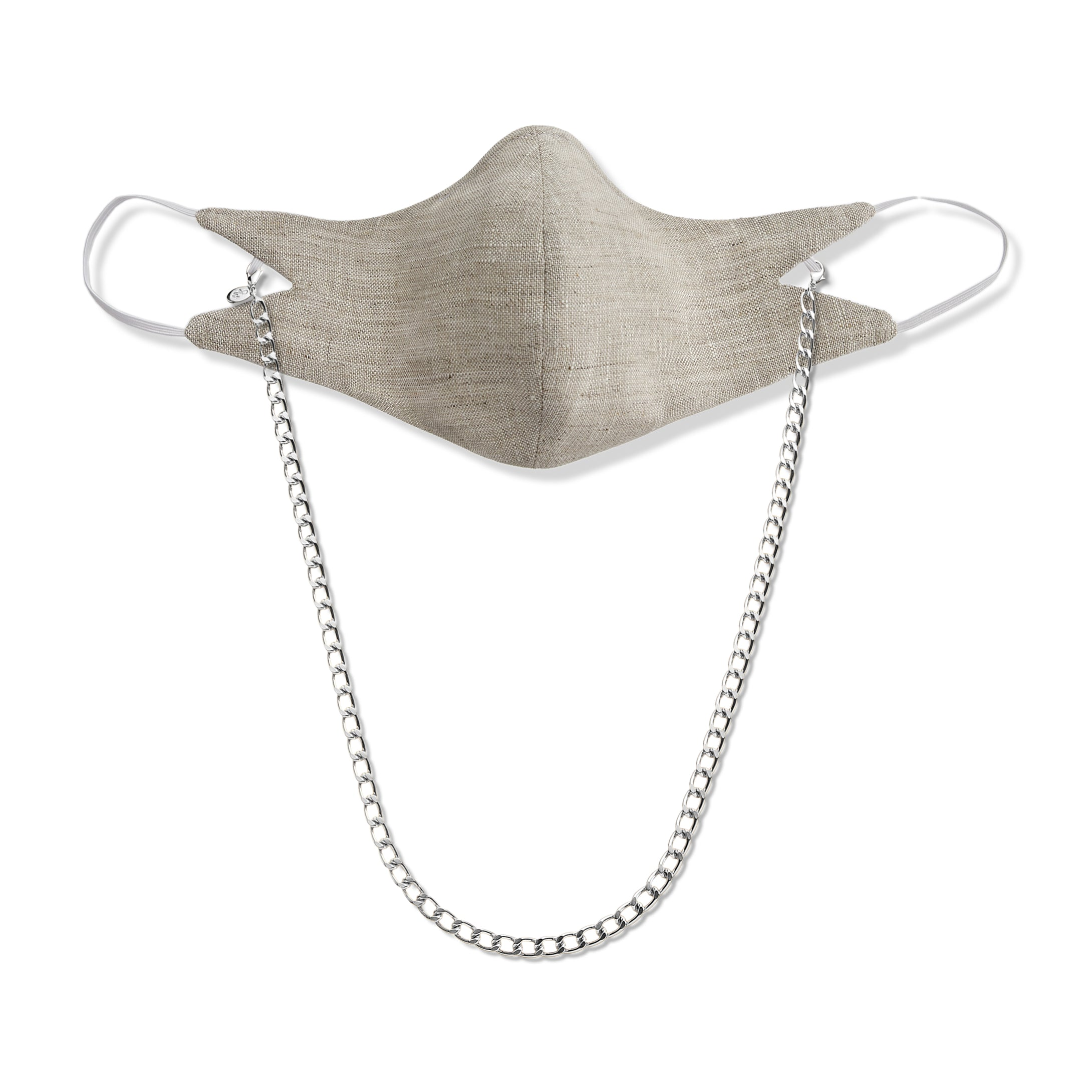 The Tina Mask in Oat With 7mm Silver Chain