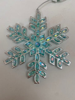 Blue-Green & Silver Snowflake With Gems