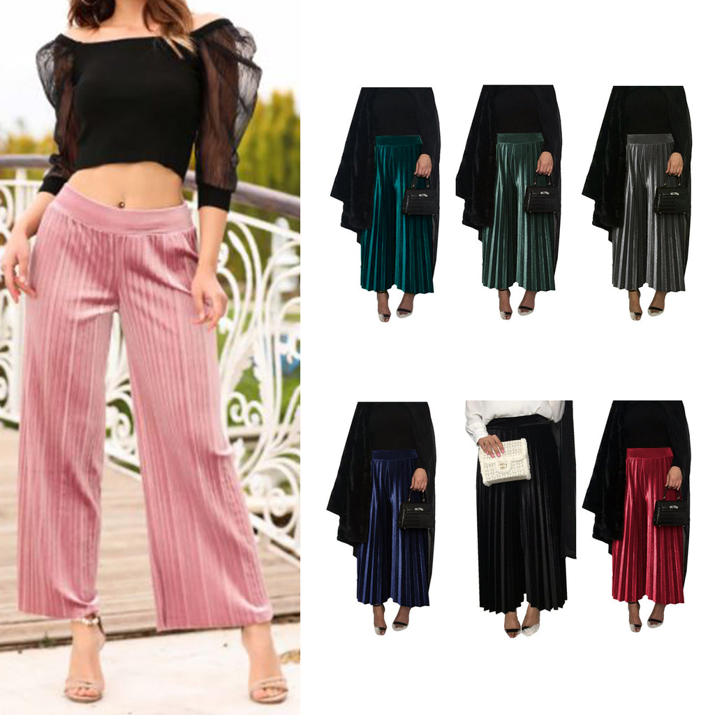 Pleated Velvet Wide Leg Palazzo Trousers