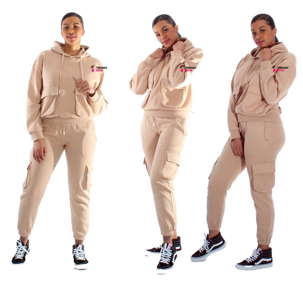 Womens Tracksuit Set Loungewear Hooded Joggers Top Trousers Pocket Size 8 - 16