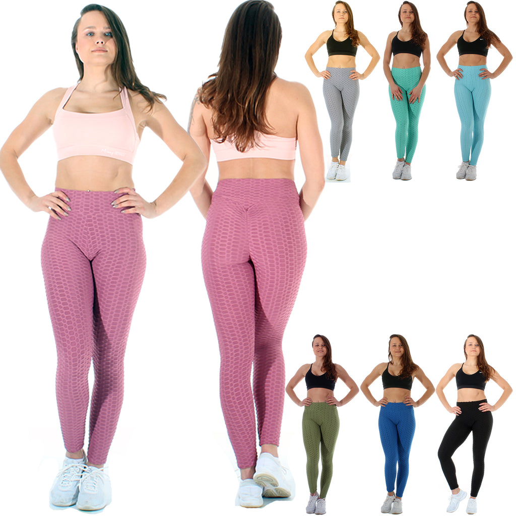 Ruched Bum, High Waist, Honeycombed Leggings