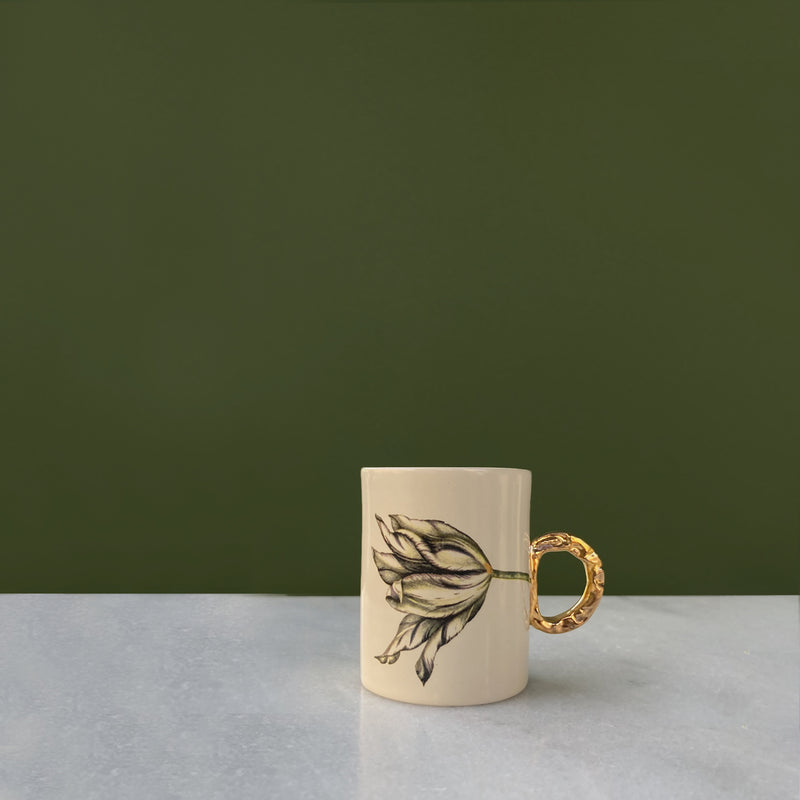 Fliff Carr Espresso Cup with Flower Illustration