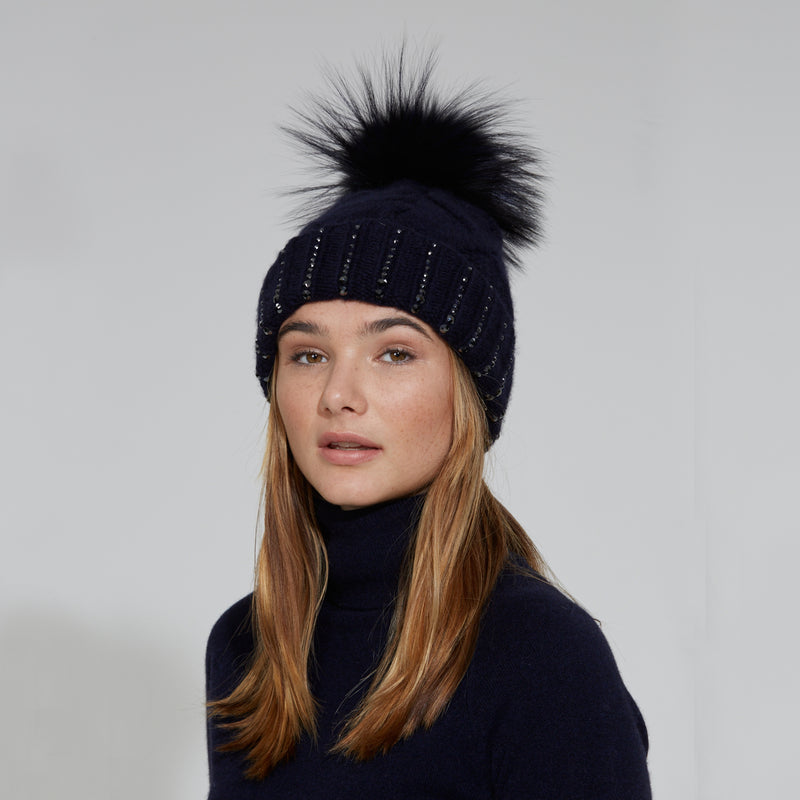 William Sharp Midnight Hat with Pom Pom