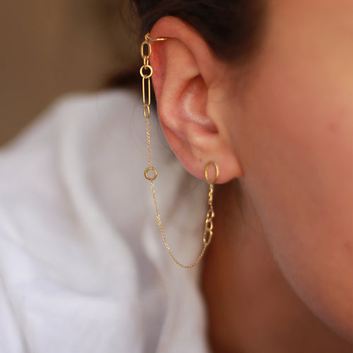 Linked with Love Stud To Cuff Earring