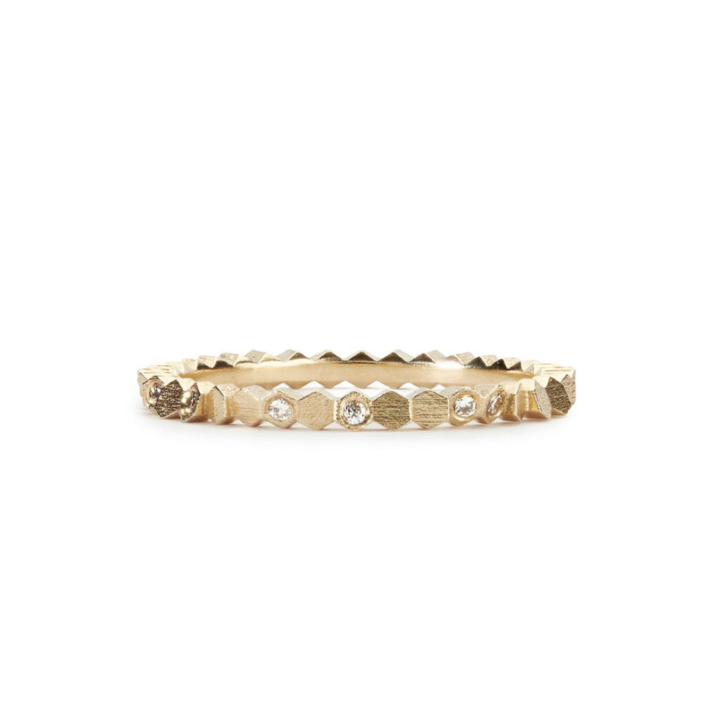 Jo Hayes Ward Gold Diamond Single Hex Ring