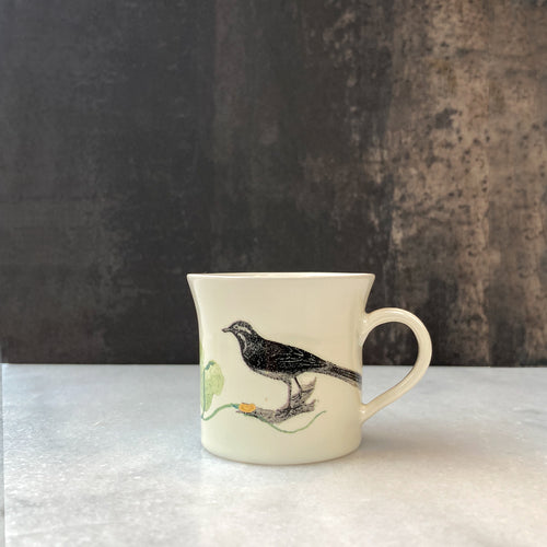 Fliff Carr Espresso Cup with Perched Bird Illustration