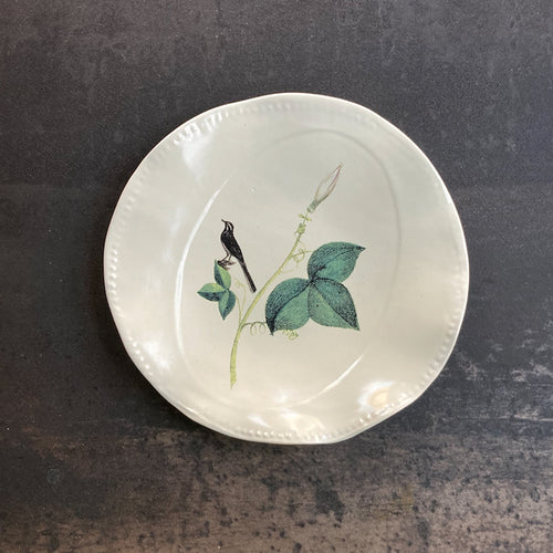 Fliff Carr Plate with Bird and Leaf Detail