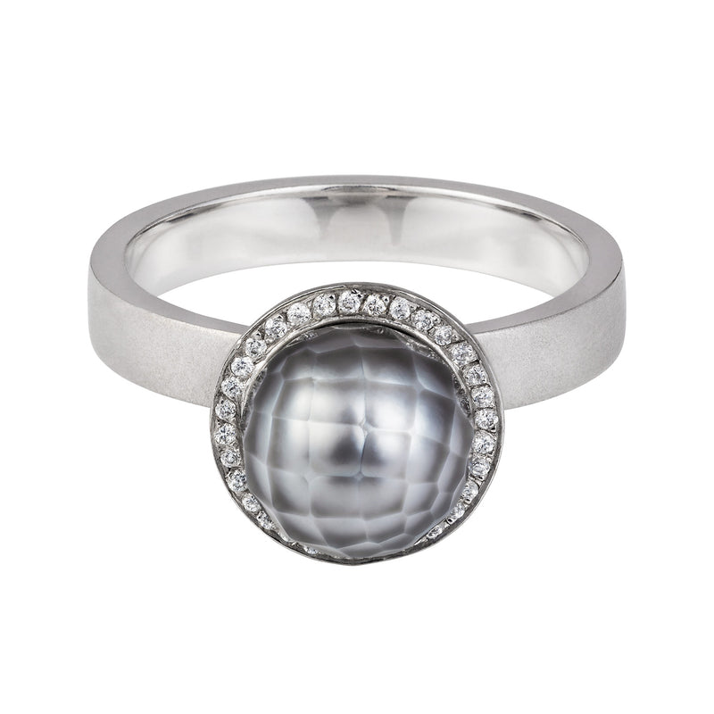 COOL GREY FACETED PEARL AND DIAMOND RING