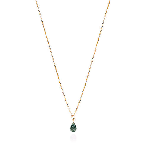 Dark Green Sapphire Drop Necklace